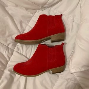 red faux suede stacked heel ankle boots